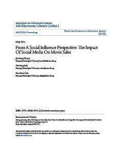From A Social Influence Perspective: The Impact Of Social ... - CiteSeerX
