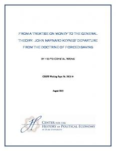 from a treatise on money to the general theory: john maynard keynes ...