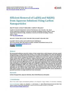 from Aqueous Solutions Using Carbon Nanoparticles - Scientific ...