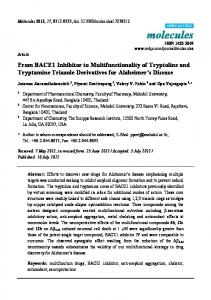 From BACE1 Inhibitor to Multifunctionality of Tryptoline and ... - MDPI