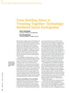 From bowling alone to tweeting together: technology-mediated social ...