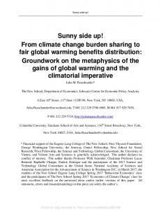 From climate change burden sharing to fair global ... - SSRN papers