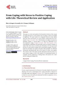 From Coping with Stress to Positive Coping with Life