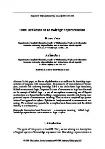From Deduction to Knowledge Representation