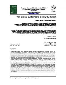 From Dietary Guidelines to Dietary Guidance? - SCIENCEDOMAIN ...