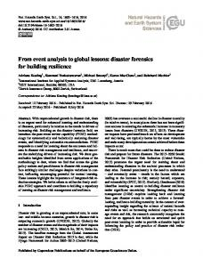 From event analysis to global lessons: disaster forensics for building ...