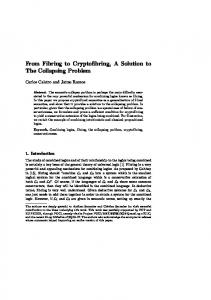 From Fibring to Cryptofibring, A Solution to The Collapsing Problem