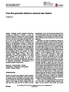 From first generation biofuels to advanced solar biofuels - Springer Link