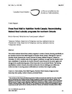 From Food Mail to Nutrition North Canada: Reconsidering federal food ...
