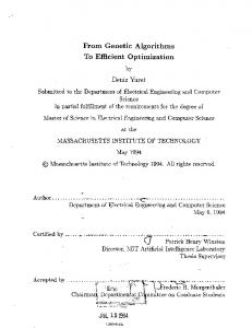 From Genetic Algorithms To Efficient Optimization