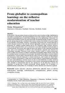From globalist to cosmopolitan learning: on the reflexive ...