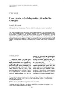 From Habits to Self-Regulation: How Do We ... - Semantic Scholar
