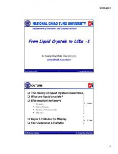From Liquid Crystals to LCDs From Liquid Crystals to