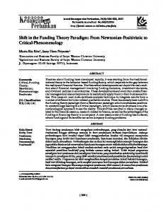 From Newtonian-Positivistic to Critical-Phenomenology