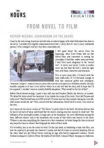 FROM NOVEL TO FILM - Film Education