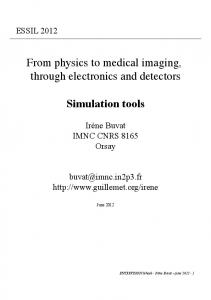 From physics to medical imaging, through electronics and detectors ...