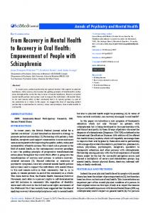 From Recovery in Mental Health to Recovery in Oral ... - JSciMed Central