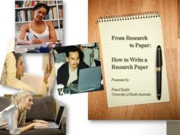 From Research to Paper: How to Write a Research