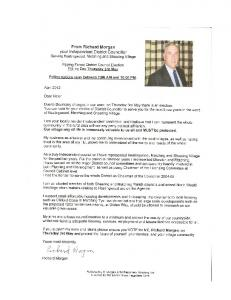 From Richard Morgan your Independent District Councillor