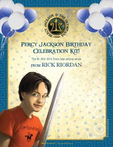 FROM RICK RIORDAN Percy Jackson Birthday Celebration Kit!