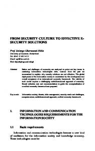 from security culture to effective e- security solutions - Springer Link