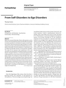 From Self-Disorders to Ego Disorders - Semantic Scholar