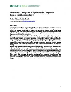 From Social Responsibility towards Corporate Territorial ... - IFSRA