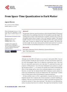 From Space-Time Quantization to Dark Matter