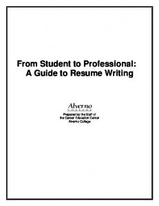 From Student to Professional: A Guide to Resume ... - Alverno College