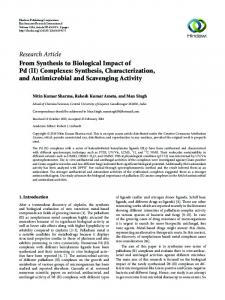 From Synthesis to Biological Impact of Pd (II) Complexes: Synthesis ...