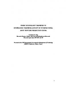 from technology transfer to knowledge transfer-a study of international ...