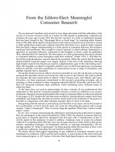 From the Editors-Elect: Meaningful Consumer Research