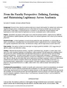 From the Faculty Perspective: Defining, Earning ...