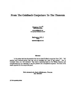 From The Goldbach Conjecture To The Theorem - arXiv