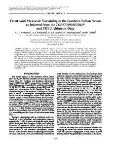 Fronts and Mesoscale Variability in the Southern Indian Ocean as ...