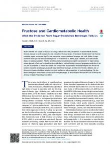 Fructose and Cardiometabolic Health - JACC
