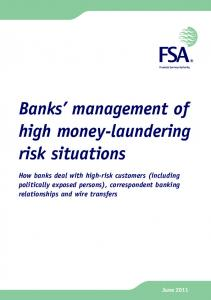 FSA: Banks' management of high money-laundering risk situations