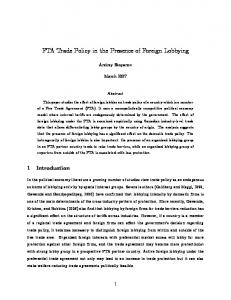FTA Trade Policy in the Presence of Foreign Lobbying - canadian