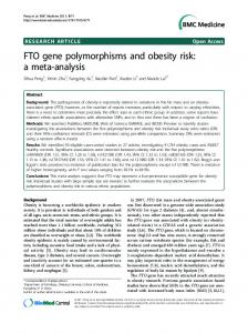 FTO gene polymorphisms and obesity risk: a meta