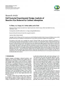 Full Factorial Experimental Design Analysis of Reactive Dye Removal ...