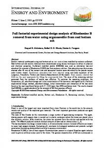 Full factorial experimental design analysis of Rhodamine B removal ...