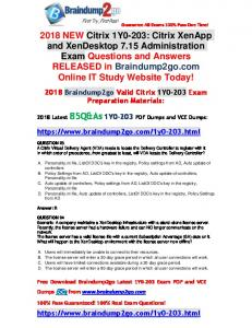 [Full-Version] Braindump2go 2018 New 1Y0-203 PDF Dumps 85Q&As Free Offer(23-33)