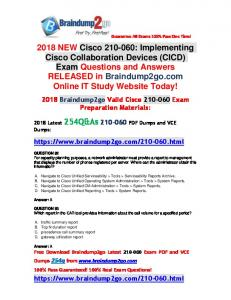 [Full Version] Braindump2go 2018 New 210-060 PDF Dumps 254Q&As Free Share(Q92-Q102)