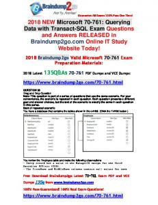 [Full-Version]2018 Braindump2go New 70-761 PDF Dumps 135Q Offer(96-106)