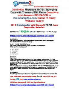 [Full-Version]2018 Braindump2go New 70-761 VCE and PDF Dumps 135Q Offer(74-84)