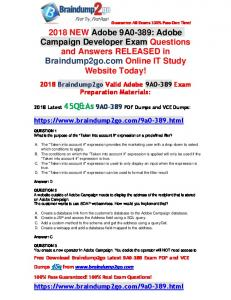 [Full-Version]2018 Braindump2go New 9A0-389 PDF Dumps 45Q&As Free Share(1-11)