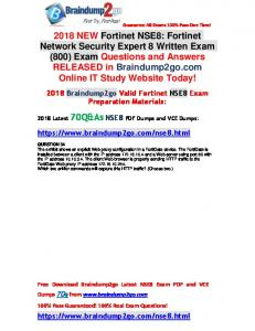 [Full-Version]2018 Braindump2go New NSE8 PDF and VCE Dumps 70Q&As Free Share(34-44)