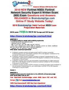 [Full-Version]2018 Braindump2go New NSE8 PDF Dumps 70Q&As Free Share(12-22)