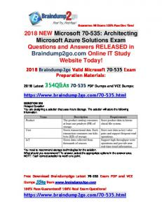 [Full-Version]2018 Latest Braindump2go 70-535 Dumps with PDF and VCE354Q Free Offe(326-336)