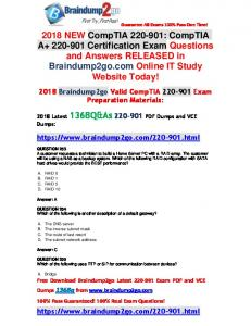 [Full-Version]2018 New Braindump2go 220-901 PDF and VCE Dumps 1368Q Free Share(253-263)